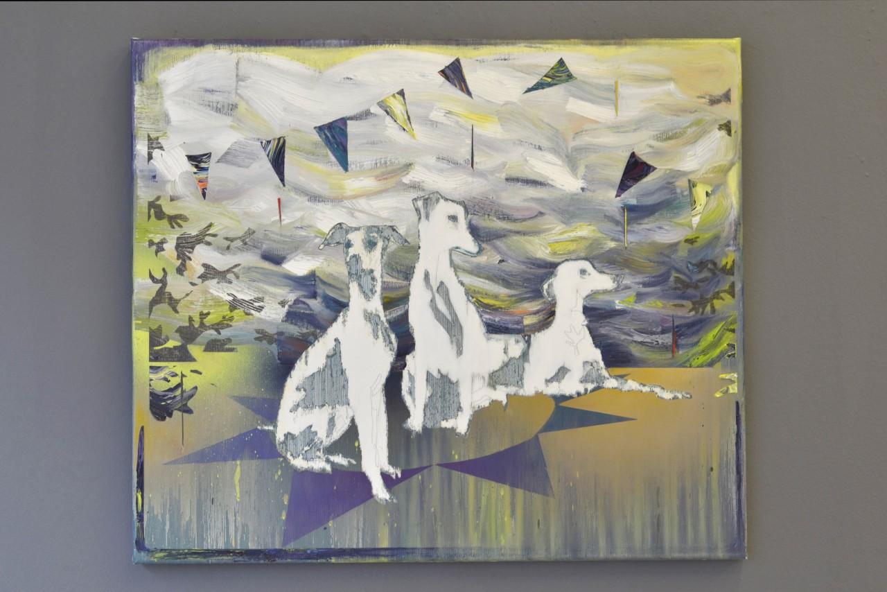 Drei Hunde, Sizilien | oil on canvas | 60 x 70 cm | 2015