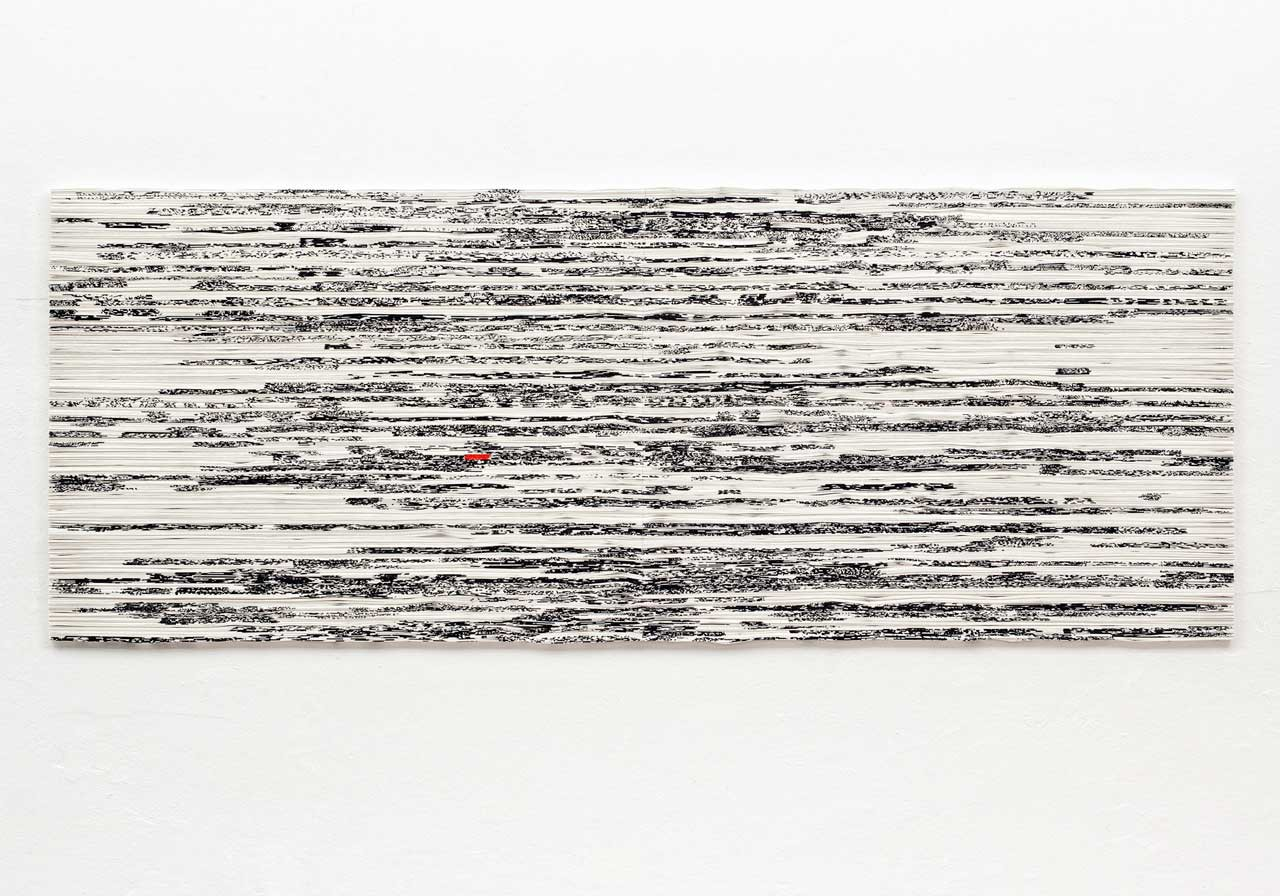 Augenbeobachtung 2-1 (Naked eye observation 2-1), 2010, Brush drawing on paper, folded, 78 x 205 x 6 cm, Photo: Bernd Hiepe