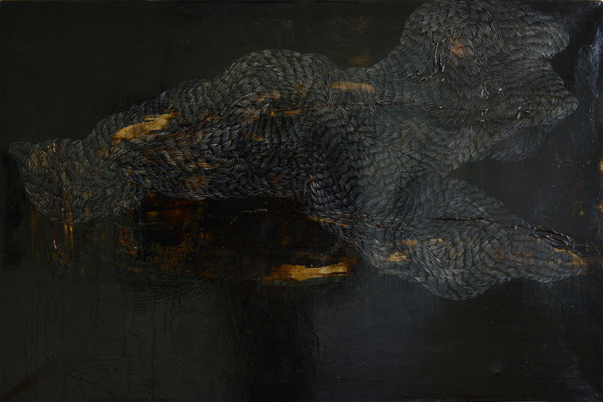 Vulcano floating No.4 | oil/bitumen + pencil on canvas | 80 x 120 cm | 2013