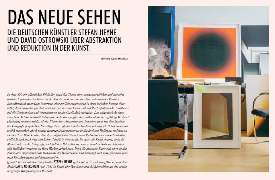 DAS NEUE SEHEN - A Conversation between David Ostrowski and Stefan Heyne in QVEST Issue  67 Summer 2015