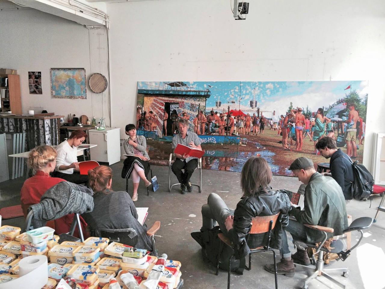 Students of Berlin Weissensee Art Academy visiting the studio of Römer + Römer. Photograph by Minor Alexander