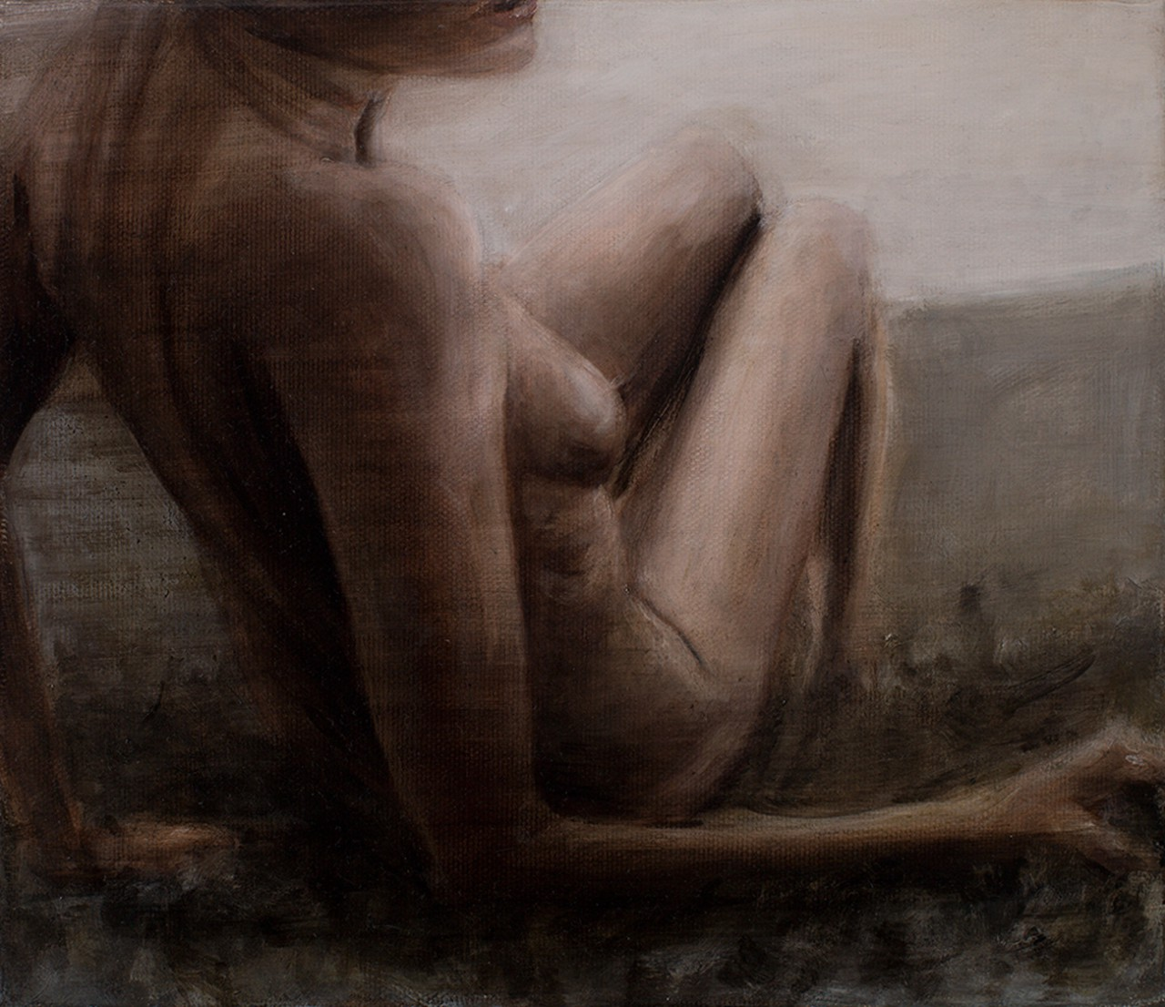 aufgestützter akt, 2014, öl/leinwand, 30 x 35 cm