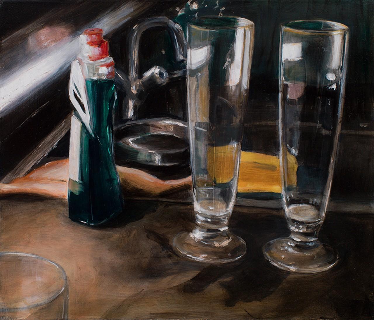 gläser und spüli, 2014, öl/leinwand, 30 x 35 cm