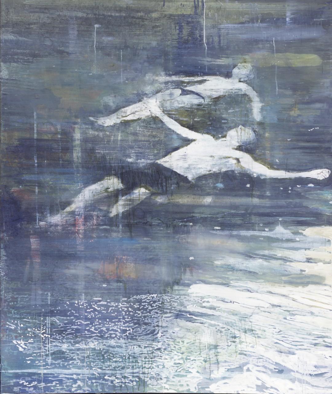 SCHWIMMER -eggtempera on canvas-Miriam Vlaming