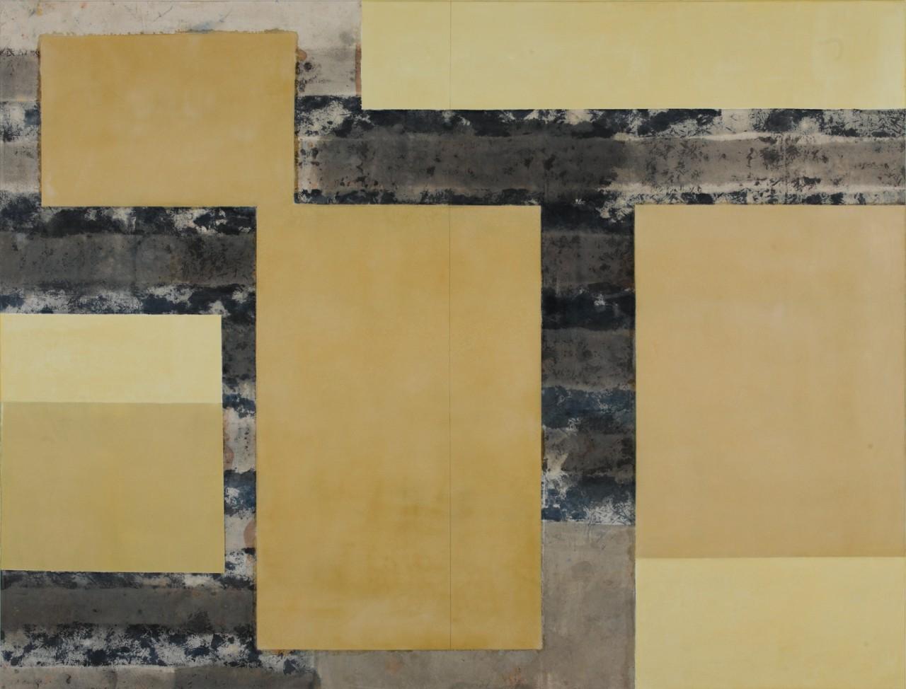Gedankenlose Achtsamkeit III, 2015 Gesso, phosphoreszierende Gesteinsmehle, Schellack, Tusche auf Leinwand, 160 x 210 cm