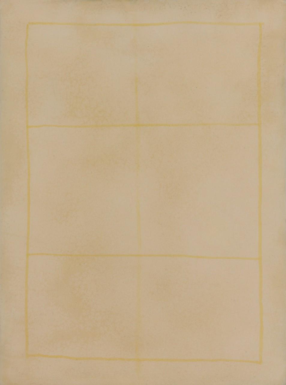 Lichtung V, 2015, Gesso, phosphoreszierende Gesteinsmehle, Schellack, Acryl auf Holz, 25 x 34 cm