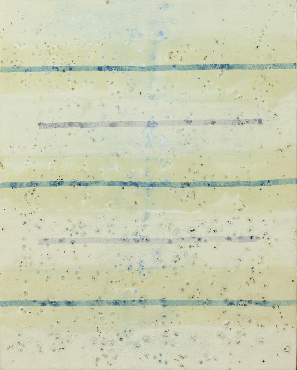 On a clear night V, 2014 Gesso, phosphoreszierende Gesteinsmehle, Schellack, Bienenkörperrudimente auf Leinwand, 40 x 50 cm