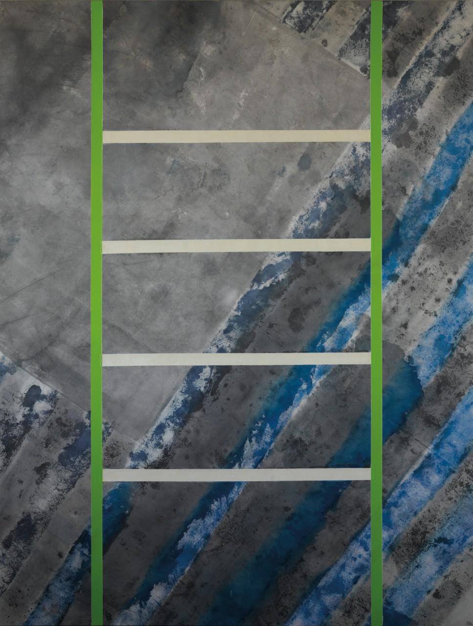Wandlung IV, 2015 phosphoreszierende Gesteinsmehle, Tusche, Acryl, Lack, Öl auf Leinwand, 160 x 210 cm