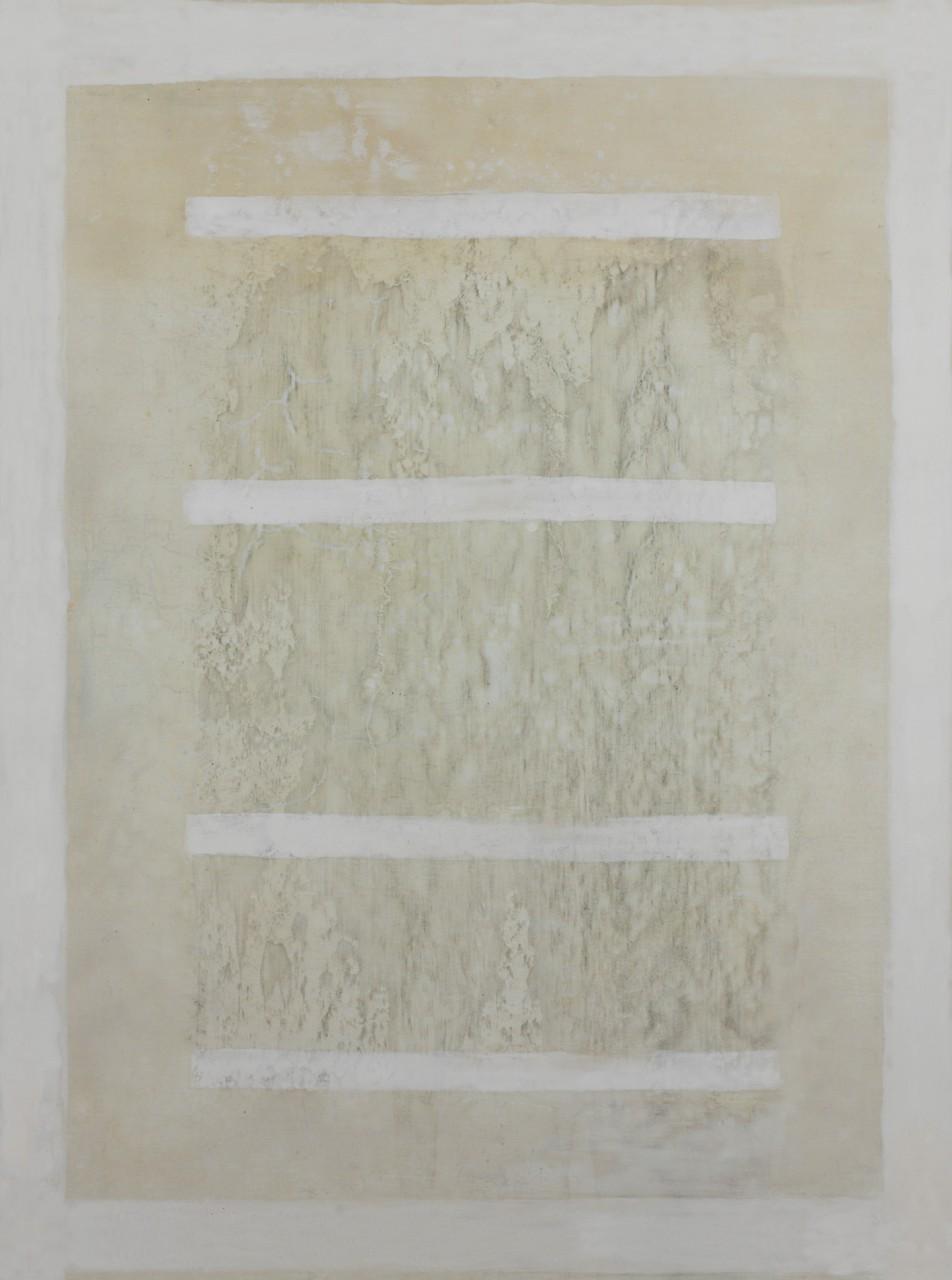 Mal du pays I, 2015, Gesso, phosphoreszierende Gesteinsmehle, Schellack, Acryl auf Leinwand und Holz, 60 x 80 cm