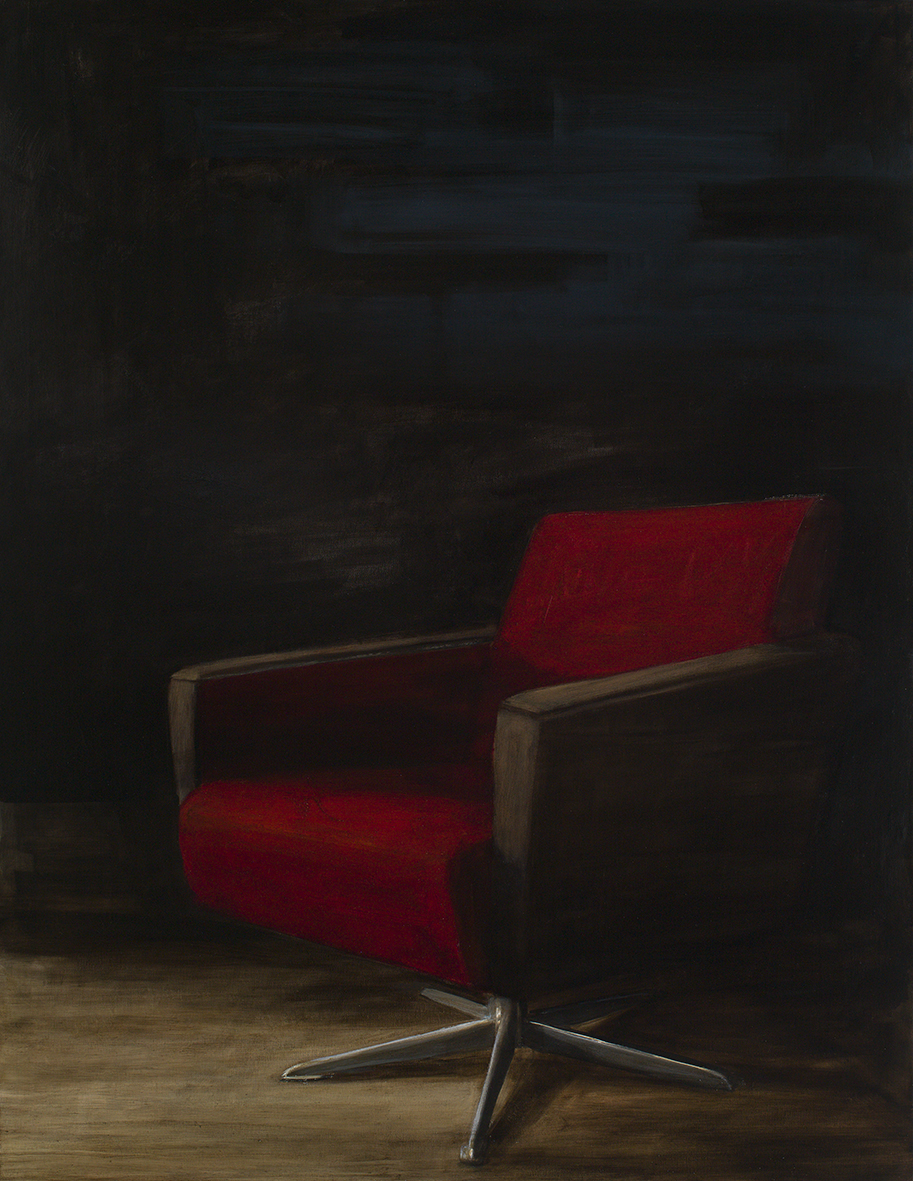 roter sessel, 2015, öl/leinwand, 130 x 100 cm