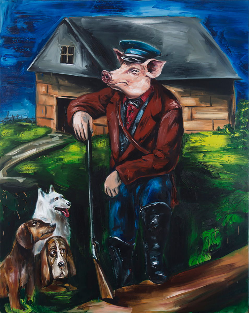 Four Legs Good Two / Two Legs Better | 2015 | 250 x 200cm | Oil on linen | TIA Collection USA