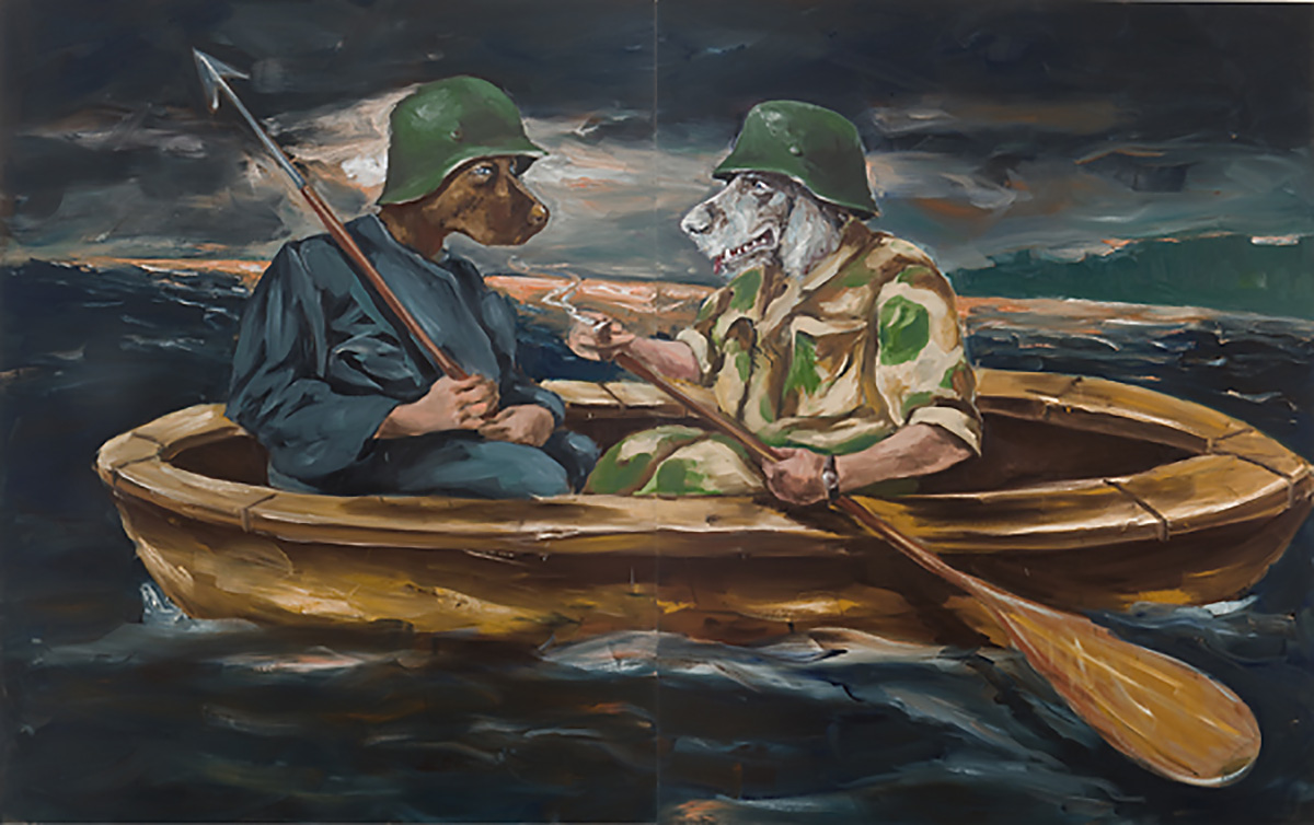 The Ship of Fools father and son going fishing | 250 x 400cm | Oil on linen | Private Collection