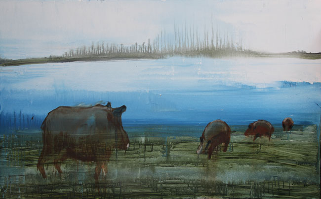 Pigslake (2014). Oil on canvas, 100 x 150 cm