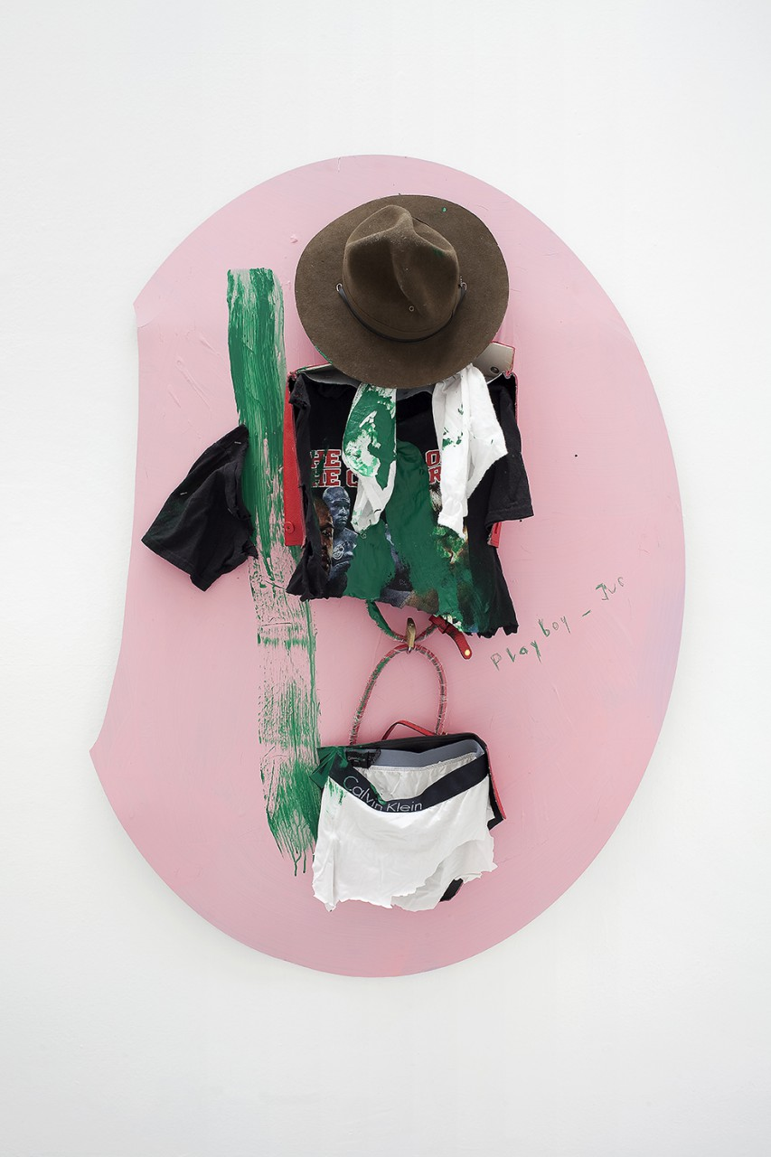 GP, 2015 / Aluminium Dibond, Prada Bag, T-Shirt, Pants and Acrylic Paint; ca. 135 x 102 cm
