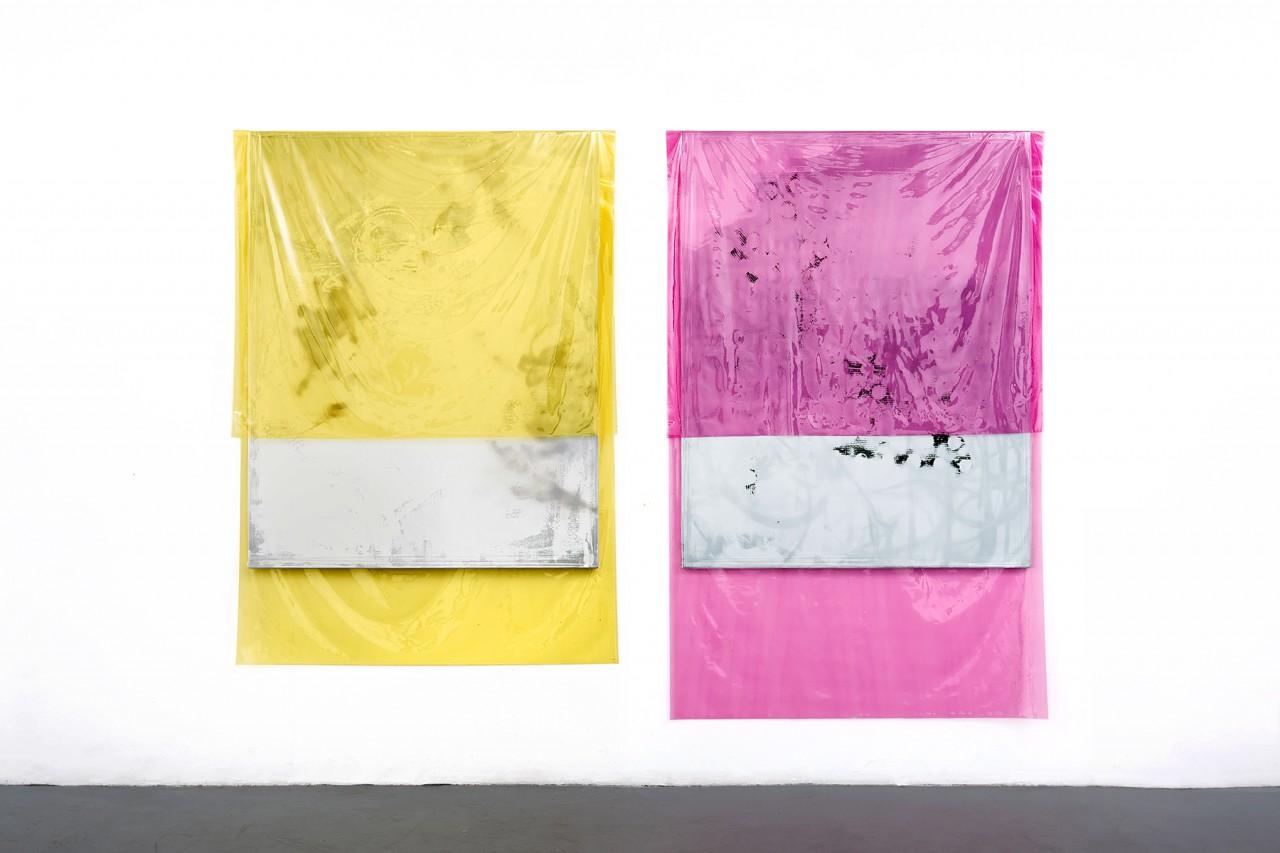 150403_150404, 190 x 130 cm, 200 x 130 cm, acrylic, lacquer, spray-paint, PE film on canvas, 2015