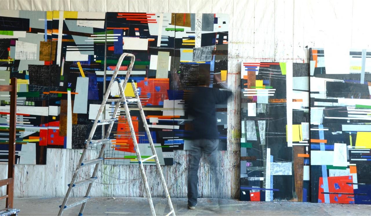 Studioshot W VI (sechsteilig) 2011-2013 Öl/Leinwand 200 x480cm