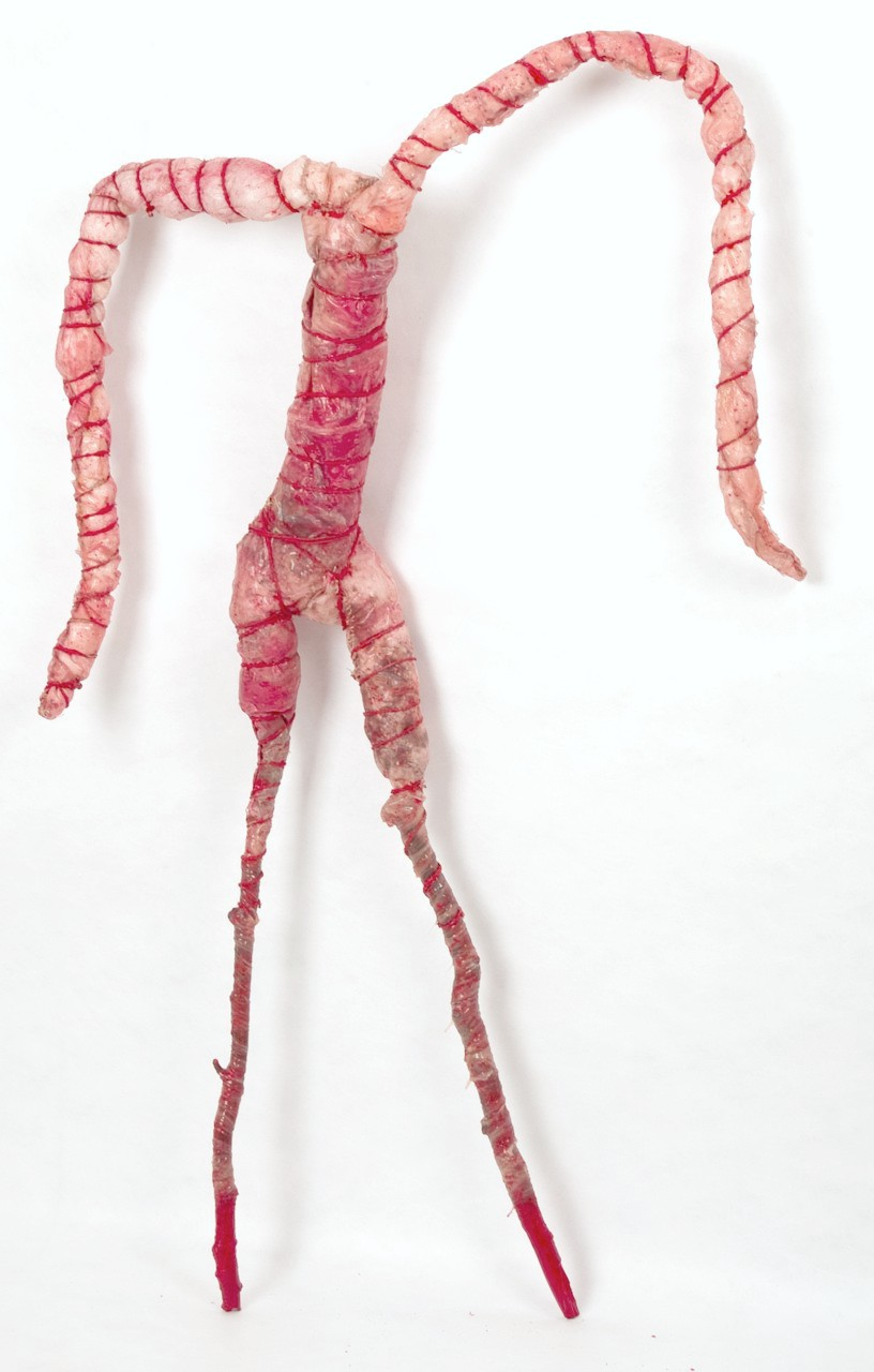 Underdog. Silicone, string, silk, pillow stuffing, seeds, etc., approx 160 × 100 × 15 cm (variable) (Photo: Julia Tham)