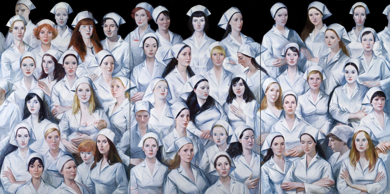 Nurses | 2008 | Oil on canvas - triptych| 195 x 390 cm