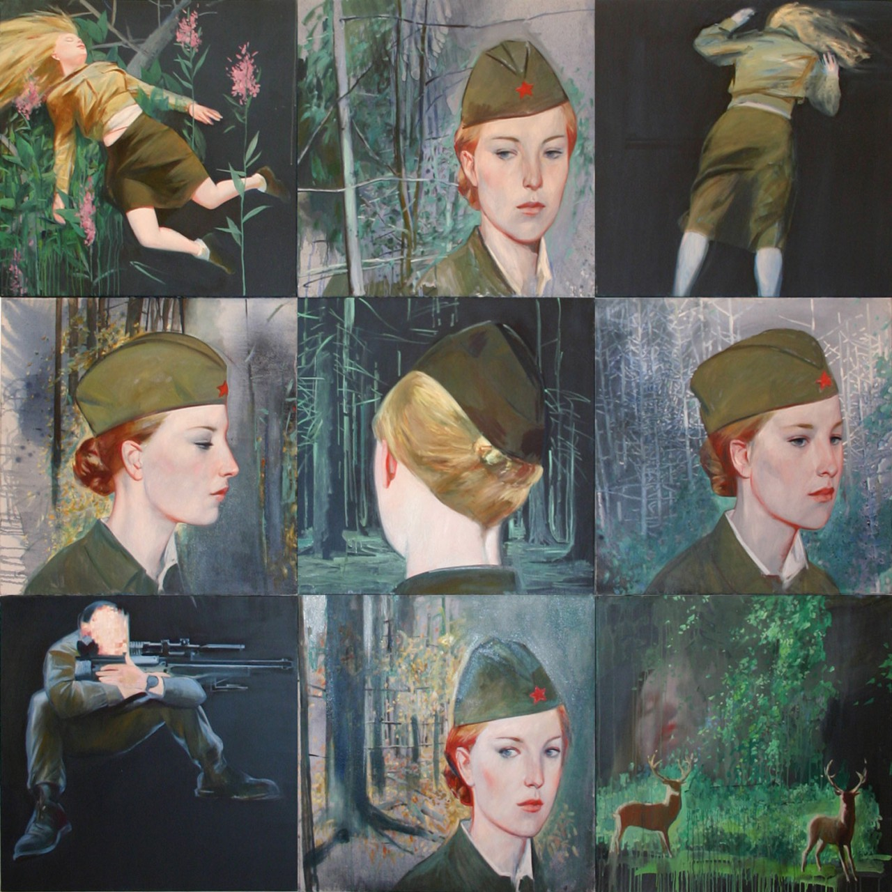Soldiers II | 2007 | Oil on canvas - polyptych | 240 x 240 cm