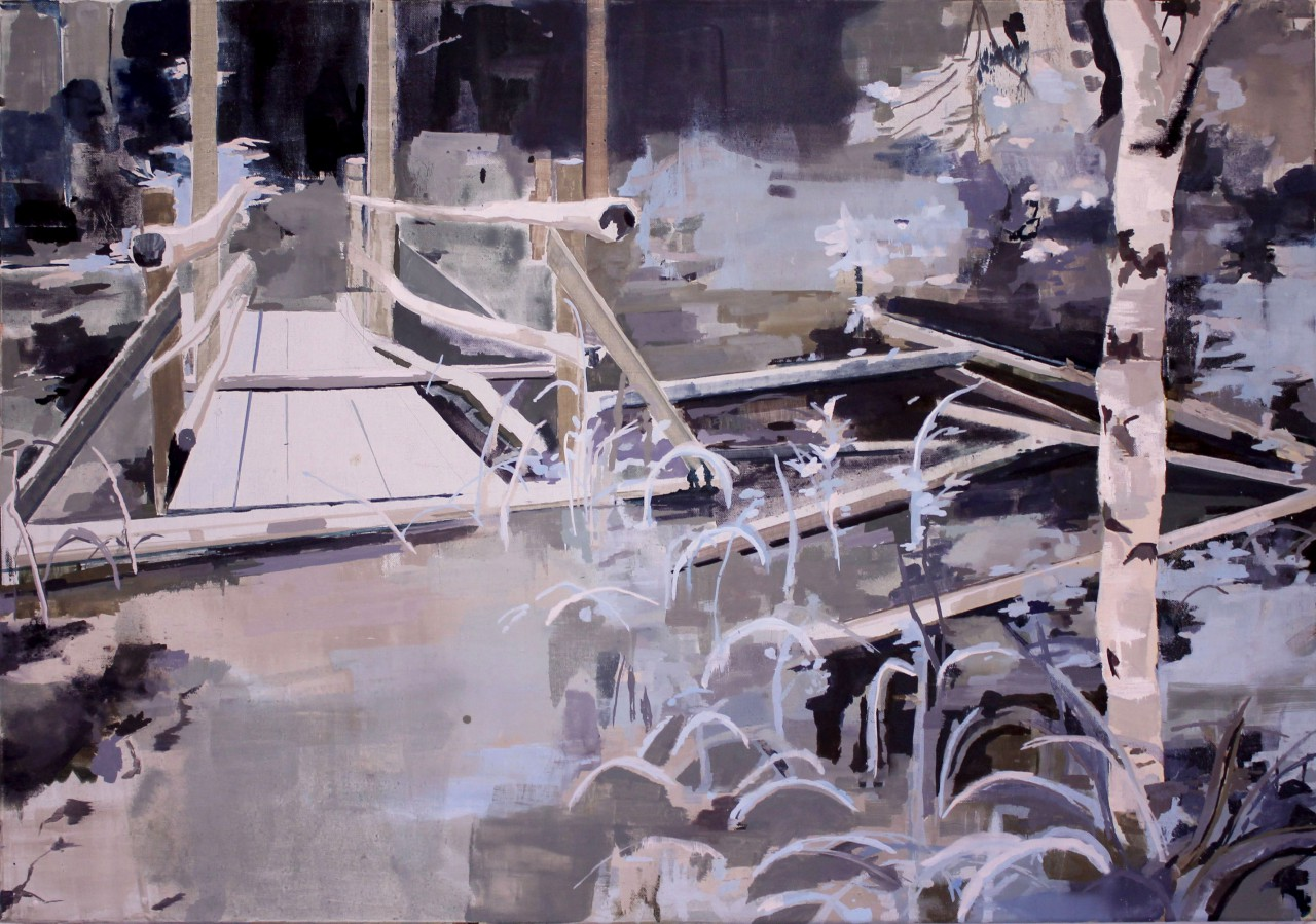 Übergang zur geometrischen Ruine , 70 x 100 cm,Öl auf Leinwand, 2015