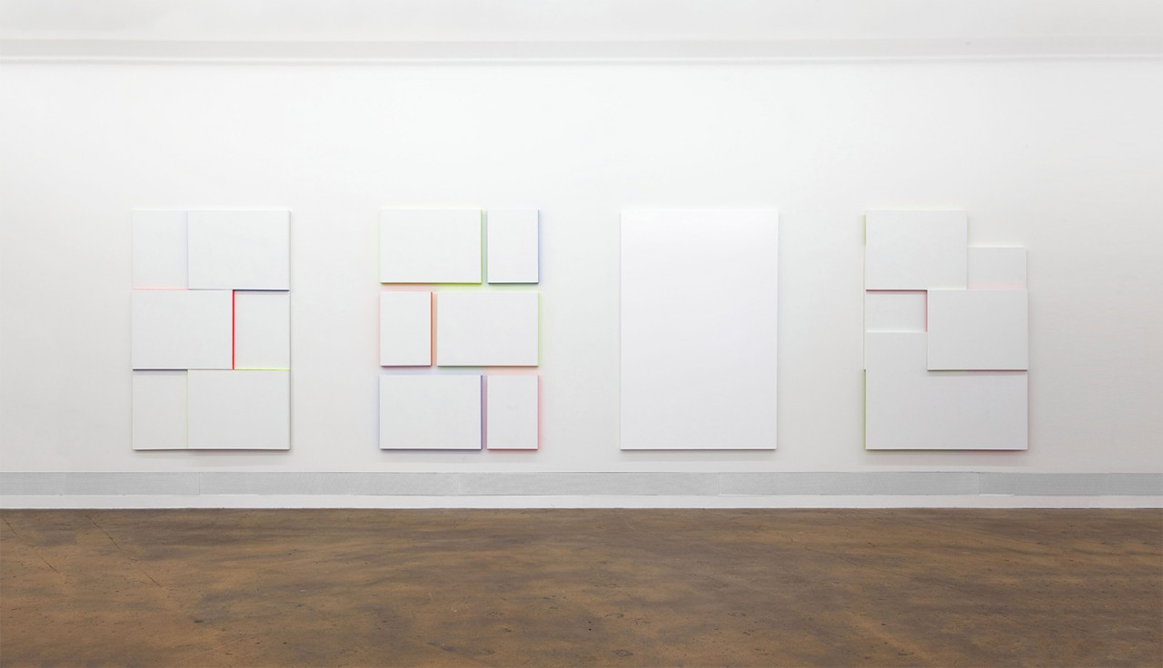 A Sculpture of Marmalade is a Sculpture. But it isn't Marmalade, Installation view at akku Kunstplattform, Emmenbrücke, Lucerne (CH), 2015, Untitled (Compositions with Canvas and Colours), Gesso and alkyd enamel on canvas (1, 2, 4), Two-components lacquer on canvas (3), 195 x 125 cm (1, 2, 3), 195 x 130 cm, 2015