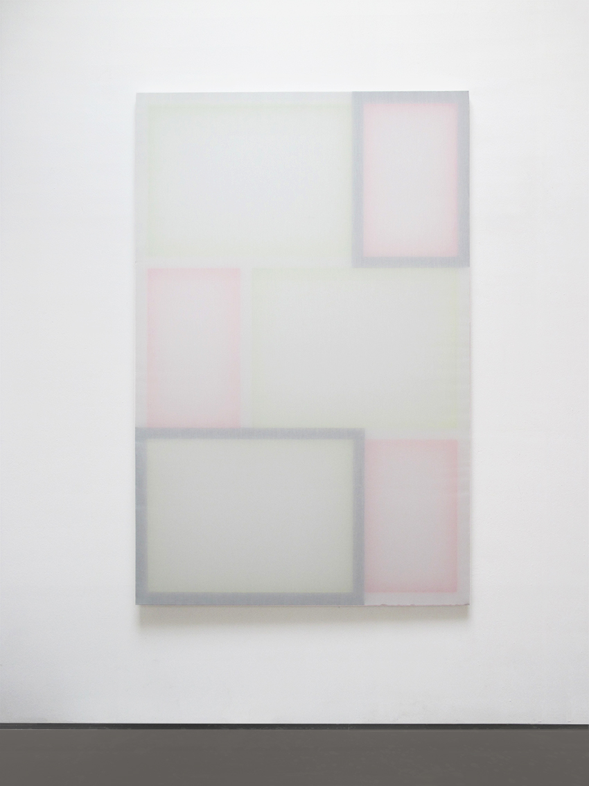 Installation view at Muster-Meier-Contemporary, Bern (CH), 2015, Untitled, Acrylic on wood/stretchers, transparent polyester, 195 x 125 cm, 2015