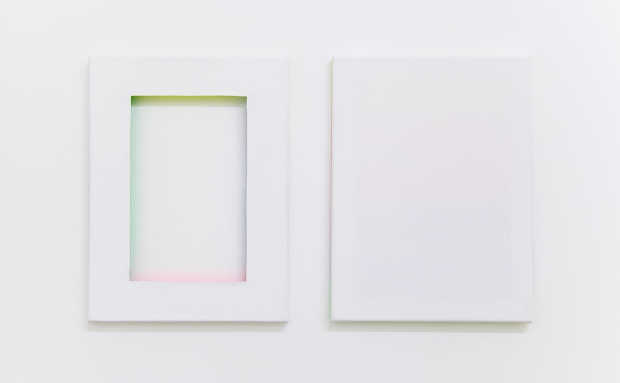Untitled, Untitled (Gradient), Alkyd enamel on stretchers, gesso on canvas, Alkyd enamel on the backside of the canvas, gesso on canvas, 40 x 30 cm each, 2015