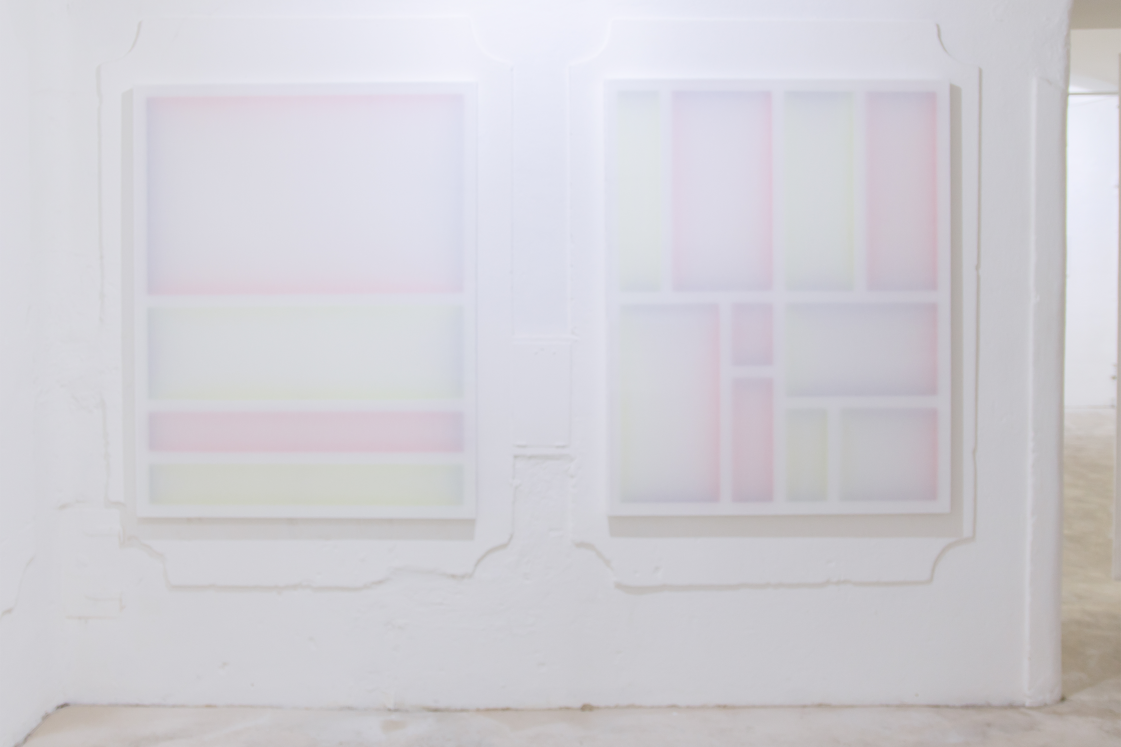 Untitled (to), Installation view at LisaBird Contemporary, Vienna (AT), 2016, Untitled (to J.O.) Untitled (to L.B.), Acrylic on wood/stretchers, transparent polyester, 150 x 120 cm each, 2016