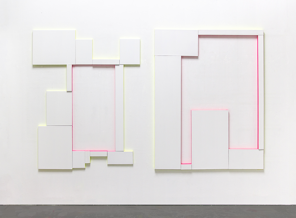 Unfixed Position, Installation view at BALTSprojects, Zurich, 2016, Untitled (Composition with 12 Canvas and 2 Colours), Untitled (Composition with 7 Canvas and 2 Colours), Gesso and alkyd enamel on canvas, 160 x 125 cm each, 2016