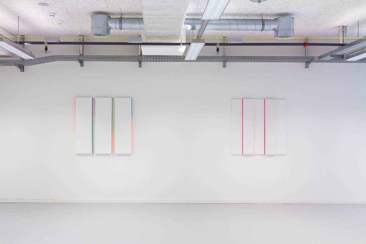 Patric Sandri – Projections, Installation view at Toni– Areal, Zurich, 2014, Untitled (Composition with 3 Canvas and 3 Colours), Untitled (Composition with 5 Canvas and 2 Colours), Gesso and alkyd enamel on canvas, 100 x 100 cm (30 x 100 cm each), 100 x 100 cm (20 x 100 cm each), 2014