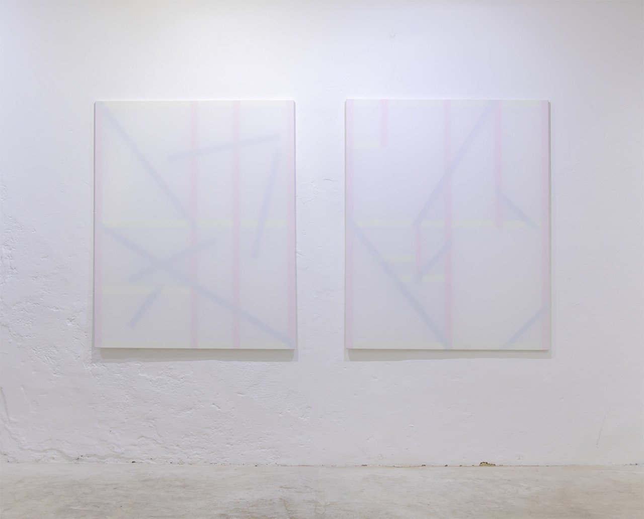 Untitled (to), Installation view at LisaBird Contemporary, Vienna (AT), 2016, Untitled (to I.K.), Acrylic on stretchers behind cotton 150 cm x 120 cm each, 2016