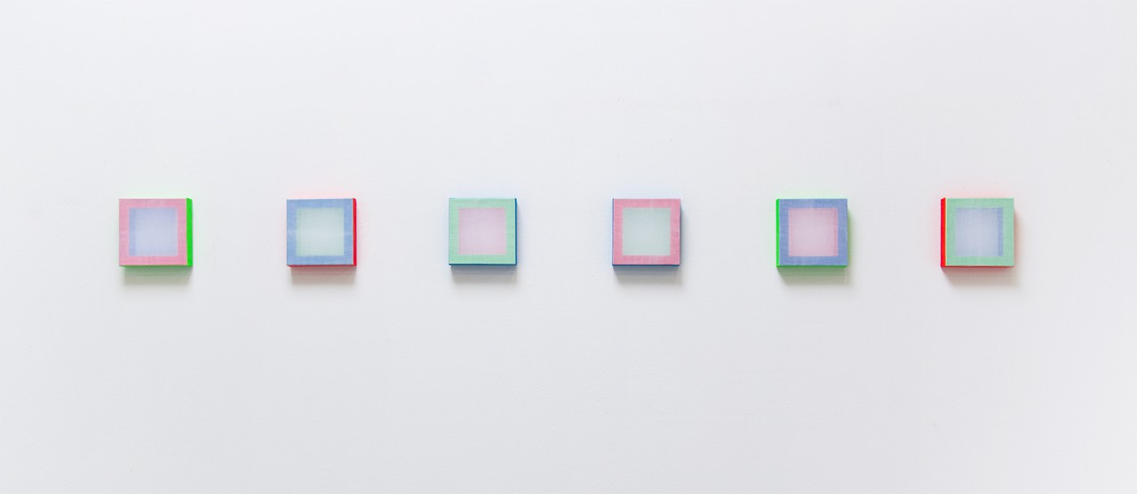 Installation view at Muster-Meier-Contemporary, Bern, (CH), 2015, Untitled (RGB colour spaces), Acrylic on stretchers and transparent polyester, 20 x 20 cm each, 2015