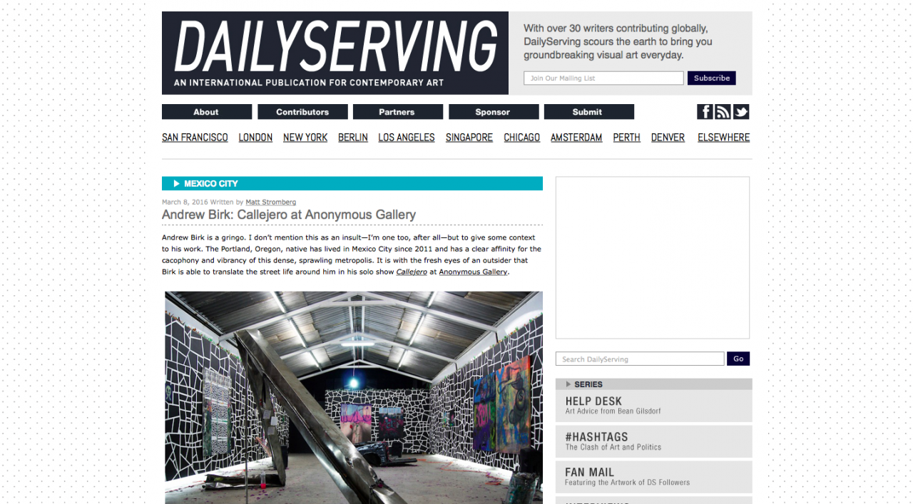 DAILYSERVING - Andrew Birk: Callejero at Anonymous Gallery