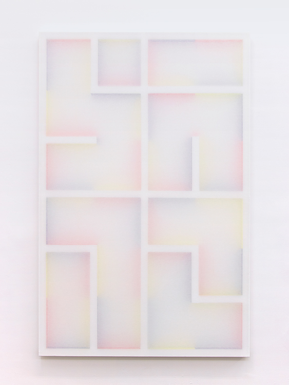Untitled, Paint on wood construction behind transparent cotton, 200 x 130 cm, 2016