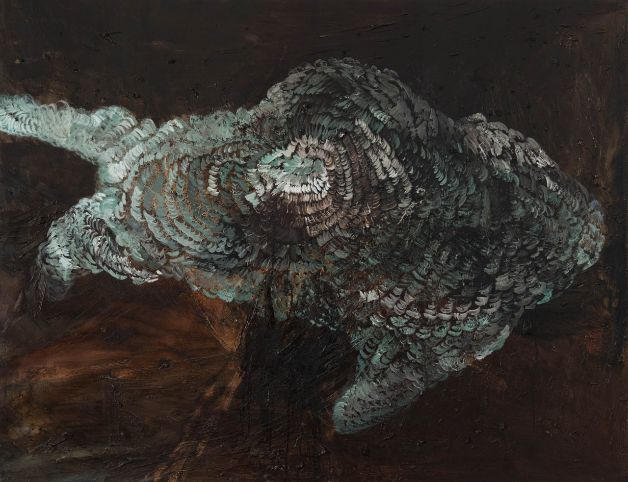 Volcano 8, oil + tar on canvas, 152 x 194 cm, 2014