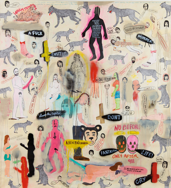 The Beginnings of a New America | 2011 | Acrylic collage and spray paint on paper | 172 x 158 cm