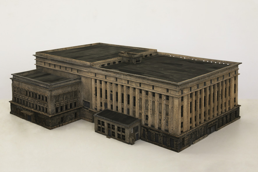 never been to Berghain; 2016; architectural model; cork, wood; 67 x 102 x 36 cm