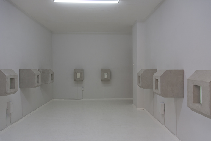 Kleinbunkereinheiten (containment units); 2013, concrete, wood, found objects from; each 50 x 40 x 45 cm
