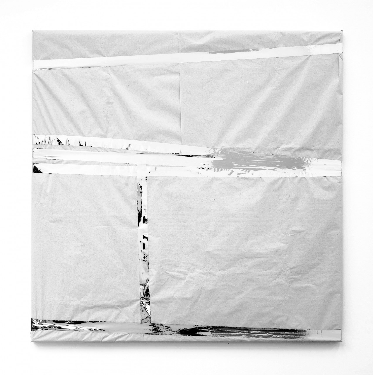 """o.t. (paket)"", 2009, canvas wrapped in paper, 80 x 80 cm"
