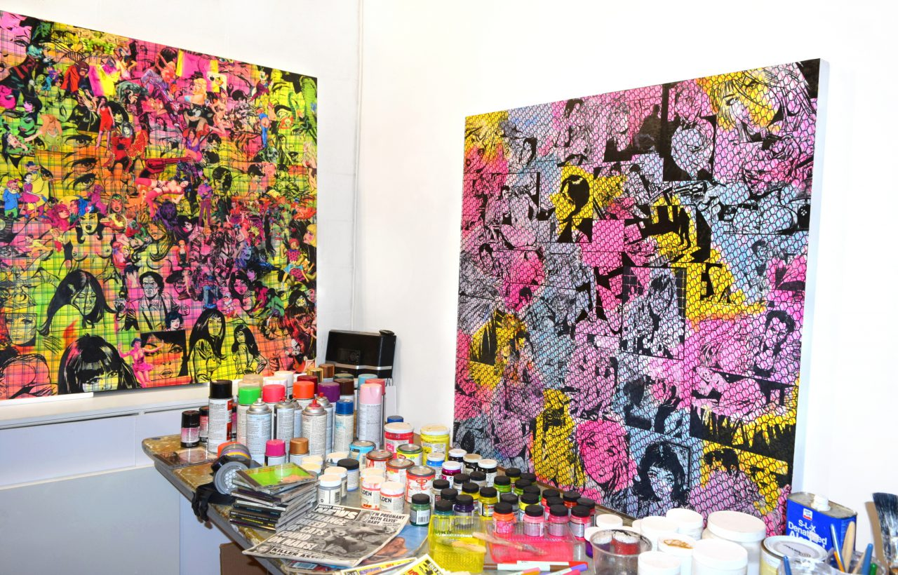 Raven Schlossberg's Brooklyn studio with the works