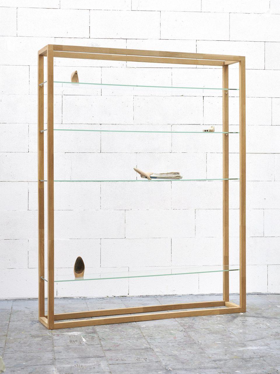 Kölner Regal, 2015, wood, glass, newspaper, unfired clay, 200 x 160 x 30 cm