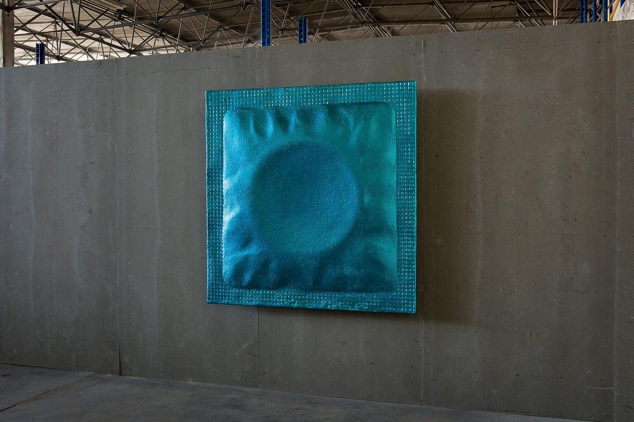 Condom, 2015 | styrofoam, PU-coating, varnish | 160 × 160 × 25 cm