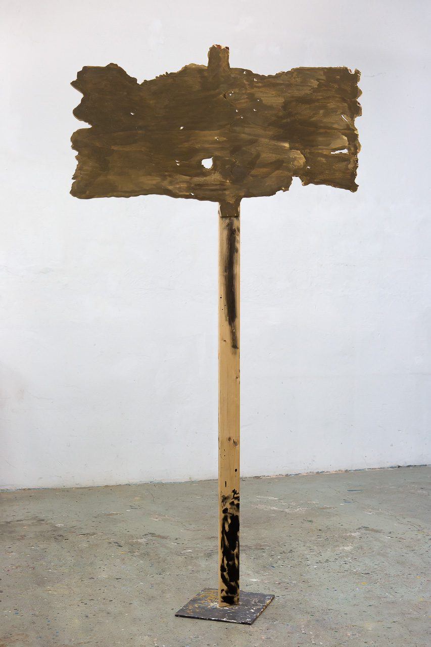 Sign, 2015/16 | wood, steel, paint | 202 × 110 × 42 cm