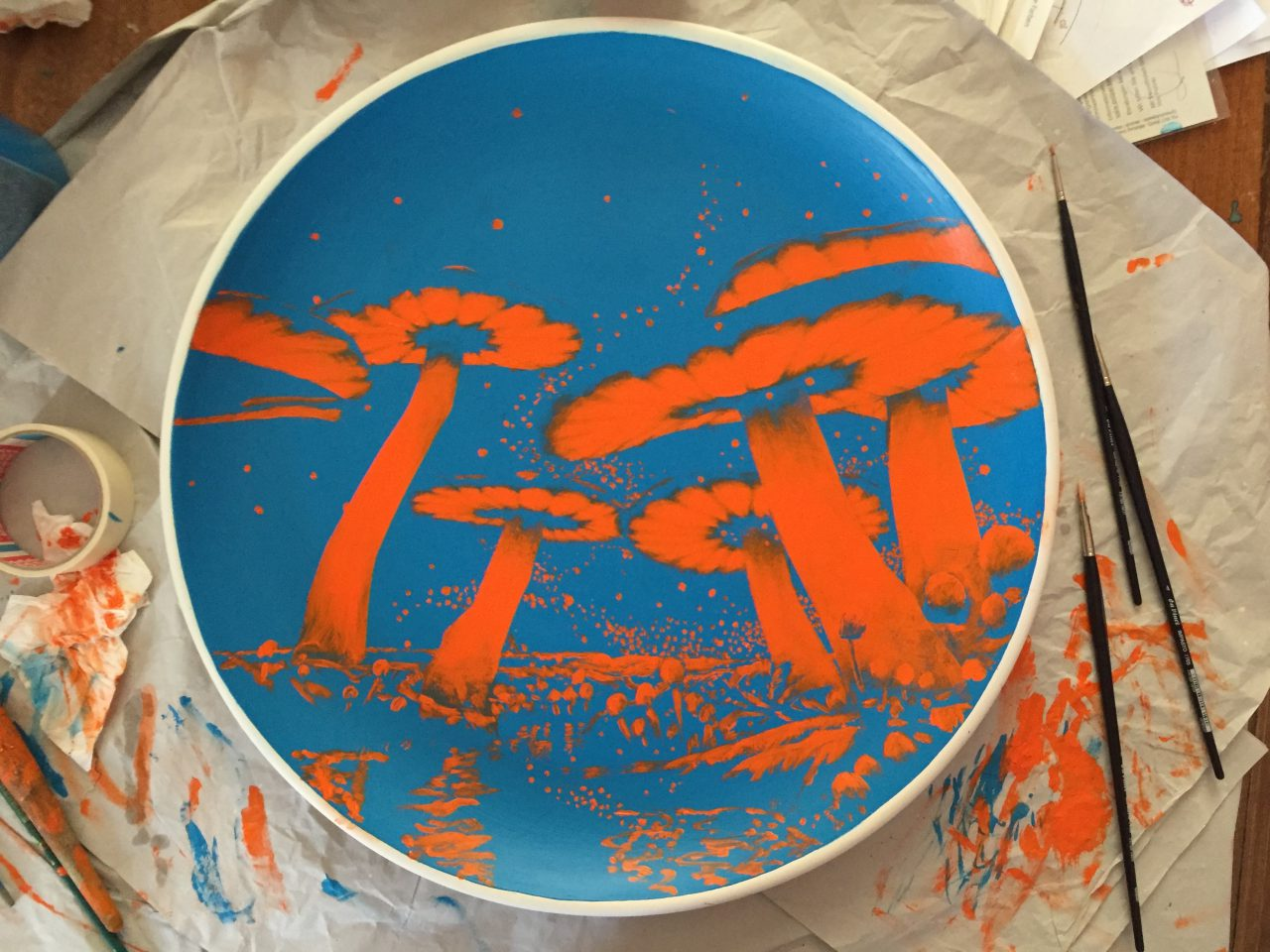 Plate, 2015, 50 cm, Acrylic on clay