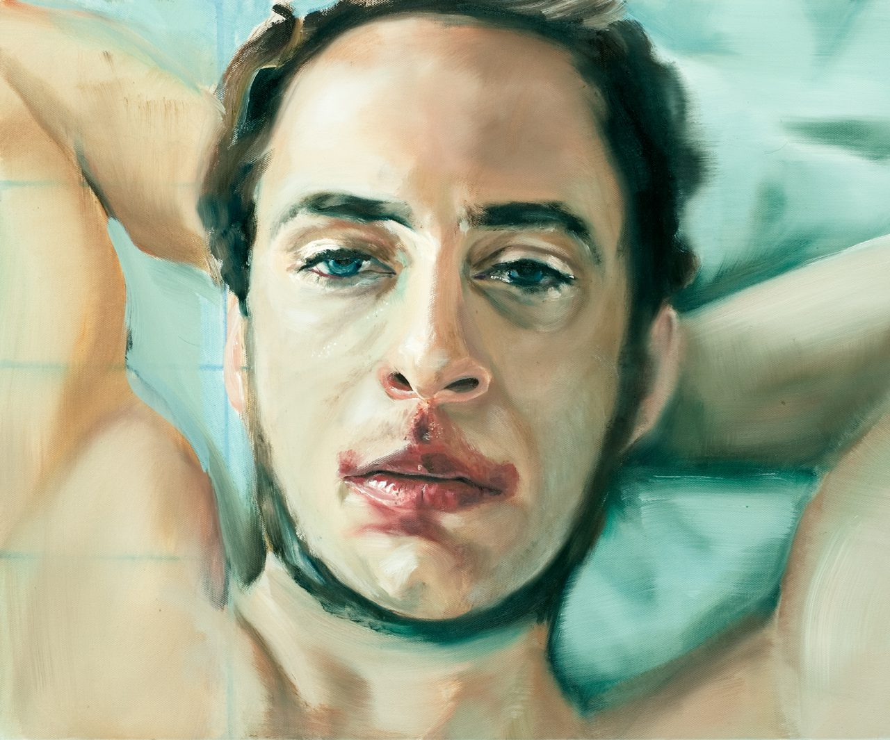 party (man with red lips)/party (Mann mit roten Lippen) ––– 60x50cm ––– 2008––– oil on linen/Öl auf Leinen