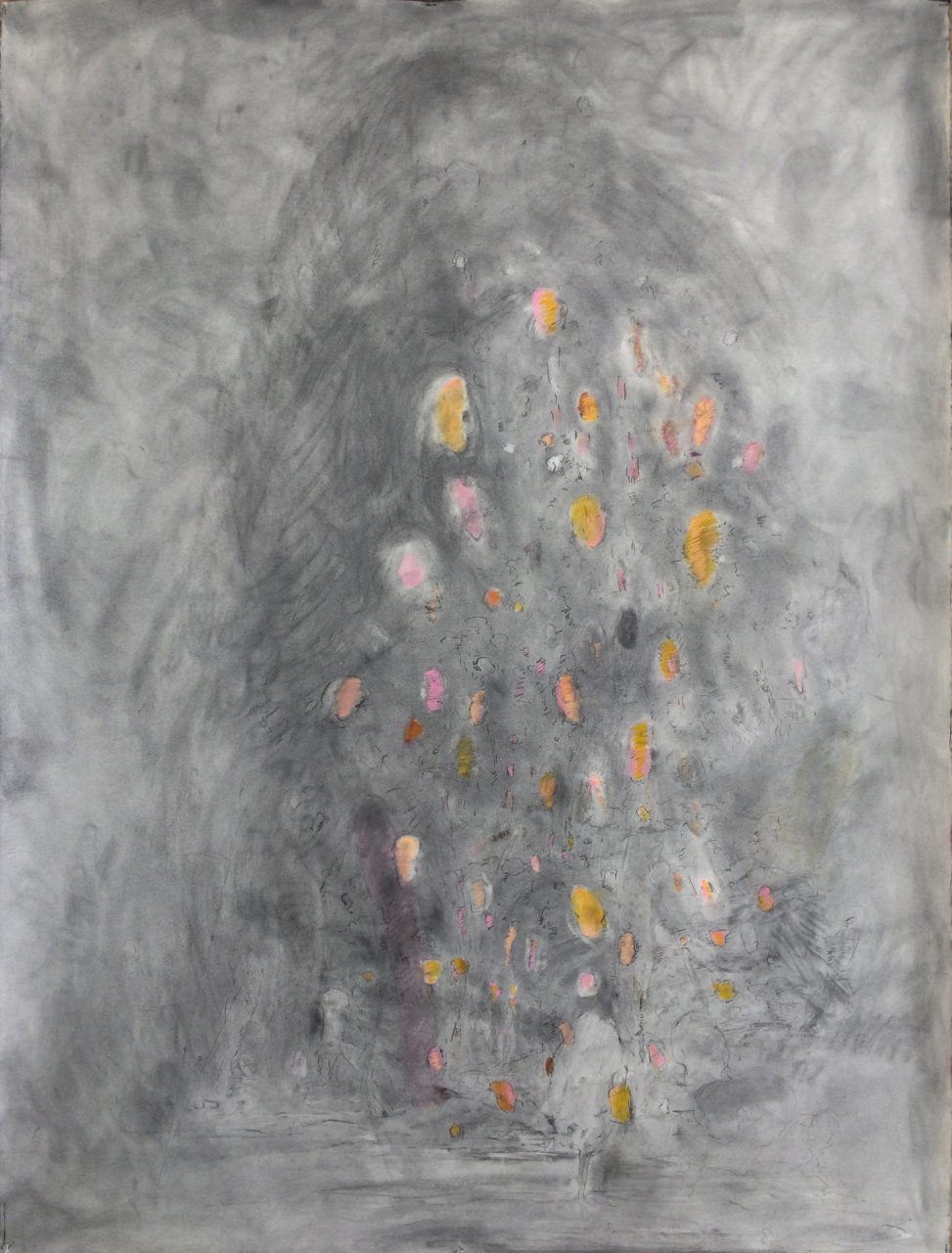 Turn of Day, 2015, graphite dust, pastel on paper, 155 x 113 cm