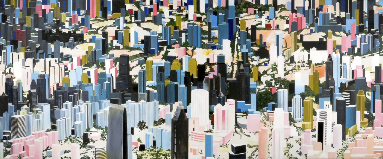 Große Stadt #4, 2012, Oil and acrylic on canvas, 125 x 300 cm