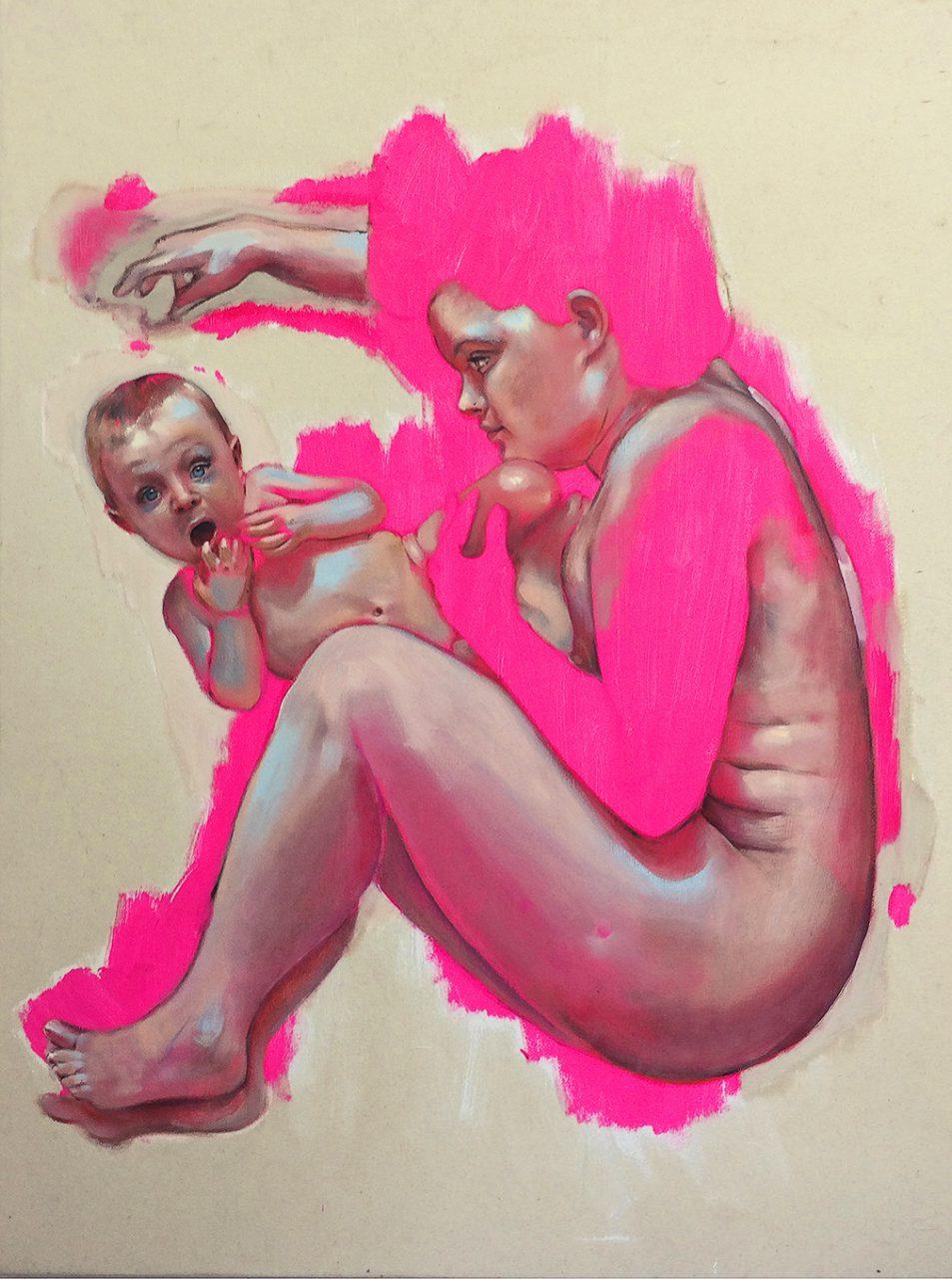 fluorescent pink ––– 120x90cm ––– 2016 ––– oil-acryl on linen/Öl-Acryl auf Leinen
