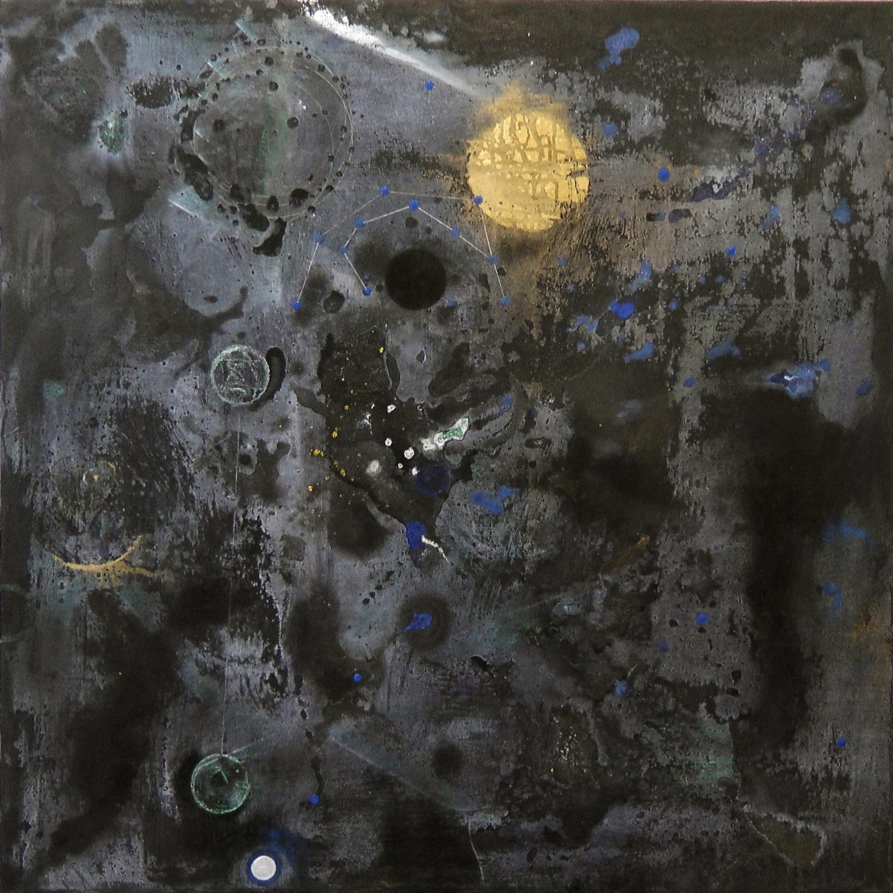 Konstellation V (Arcanum), mixed media on canvas, 100x100 cm, 2015