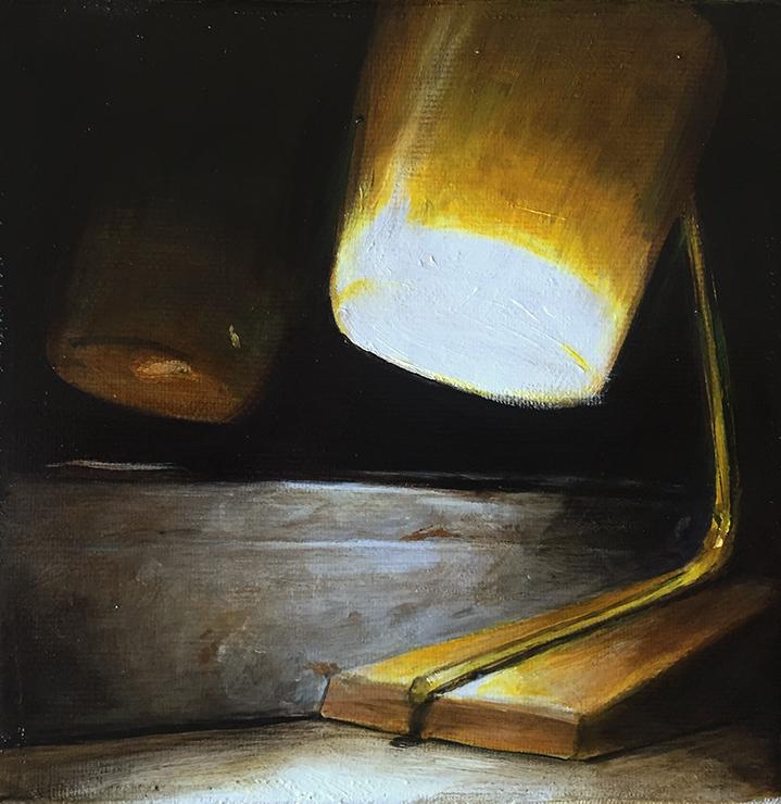kleine lampe am fenster, 2016, öl/leinwand, 15 x 15 cm